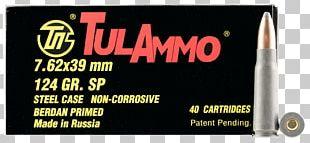 7.62×39mm Full Metal Jacket Bullet Soft-point Bullet Ammunition Cartridge PNG