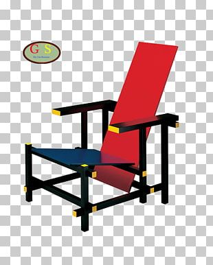 Red And Blue Chair Zig-Zag Chair Furniture De Stijl PNG