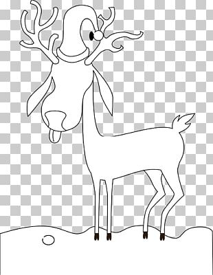 Reindeer Line Art Drawing Black And White PNG