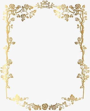 Golden Rectangular French Floral Border PNG
