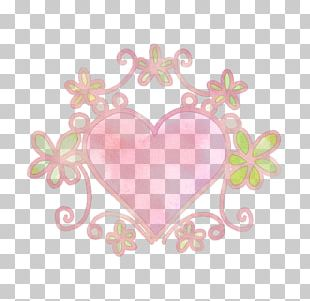 Red Hand-painted Illustration Frame Heart And Flow PNG