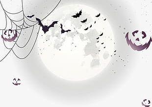 Halloween Bat Moon Face PNG
