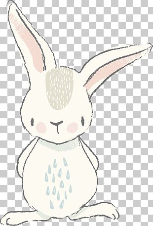 Easter Bunny White Rabbit Watercolor Painting PNG