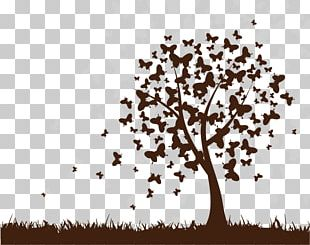 Butterfly Tree Wall Decal PNG