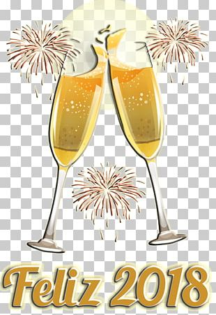 Champagne Glass New Year Font Meter PNG