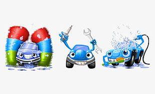 Hand-painted Blue Cartoon Car Washing Process PNG