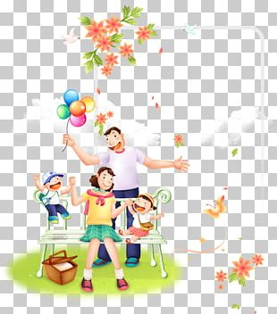 Playing On The Grass Family Promotional Template. PNG