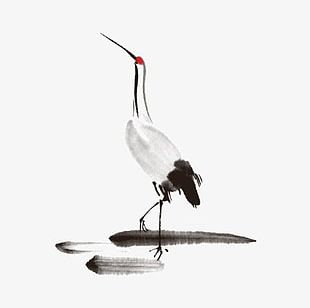 Hand Painted Red-crowned Crane PNG