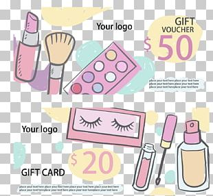 Hand-painted Cosmetics Discount Card PNG