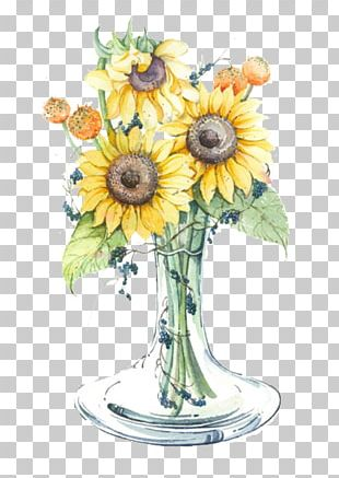 Common Sunflower Yellow Vase PNG