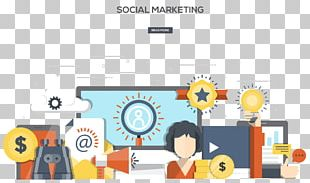 Social Media Marketing Web Banner Flat Design Illustration PNG