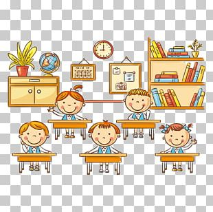Student Cartoon Classroom Lesson PNG