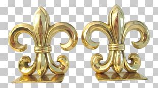 Cast Iron Fleur De Lis Bookends Brass Furniture PNG