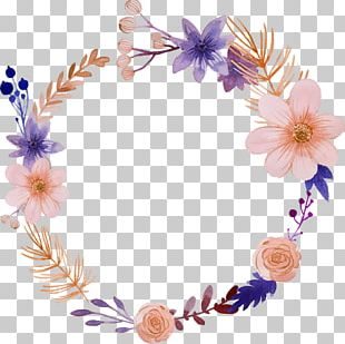 Flower Watercolor Painting Wreath Illustration PNG