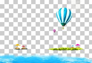 Blue Fresh Hot Air Balloon Ocean Border Texture PNG