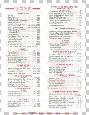 Chinese Cuisine Take-out Menu Cafe Sam's Chinese Restaurant PNG