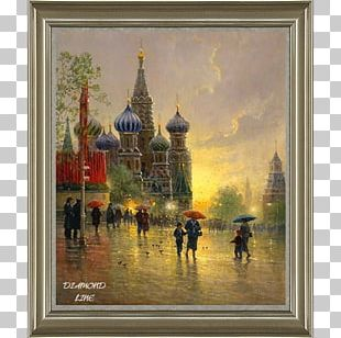 Watercolor Painting Red Square Landscape Painting PNG