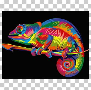 Chameleons Paint By Number Canvas Painting Easel PNG