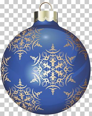 Transparent Blue And Gold Christmas Ball PNG