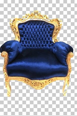 Chair Baroque Fauteuil Throne Blue PNG