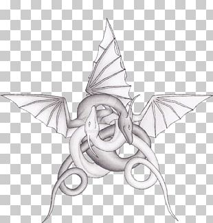 Drawing Pentagram Dragon Line Art PNG