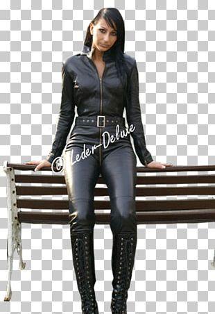 Leather Jacket Catsuit Jumpsuit PNG
