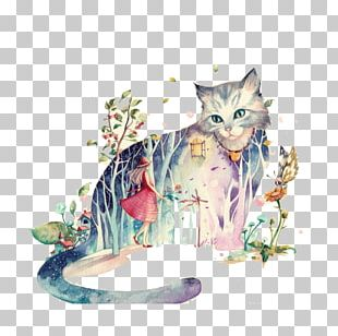 Cat Drawing Watercolor Painting PNG