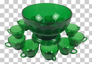 Punch Bowls Glass Green Cup PNG