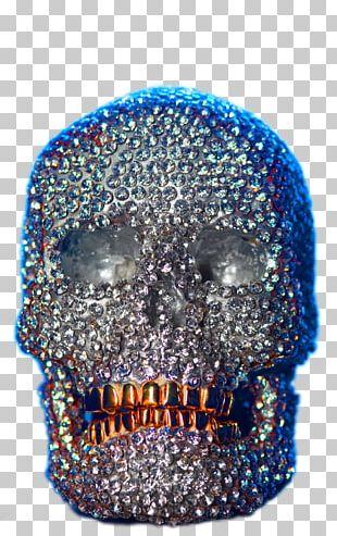 Skull Bronze Sculpture Cobalt Blue Casting PNG