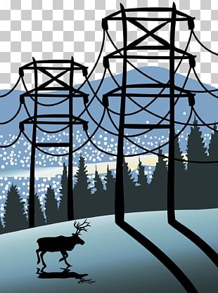 Electricity Electric Power Transmission Tower Illustration PNG