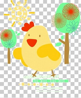 Chicken Cartoon Watercolor Painting Illustration PNG