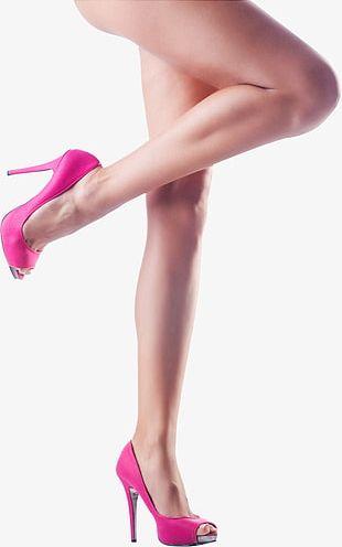 Pink High Heels Female Legs Side Close PNG