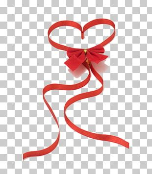 Red Ribbon Heart Love Valentines Day PNG