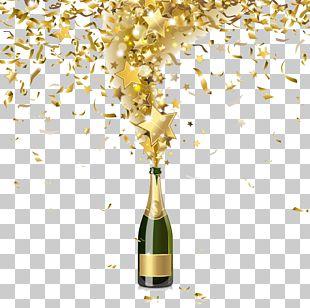 Champagne Bottle Confetti Illustration PNG