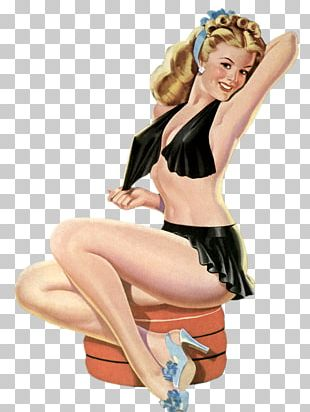 Pin-up Girl Retro Style Paper PNG