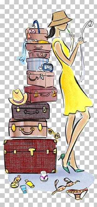 Travel Fashion Illustration Drawing Suitcase Illustration PNG