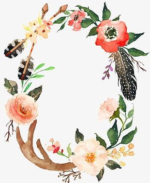 Watercolor Painted Feather Wreath Wreath PNG