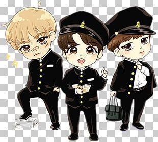 BTS Drawing Chibi Fan Art PNG
