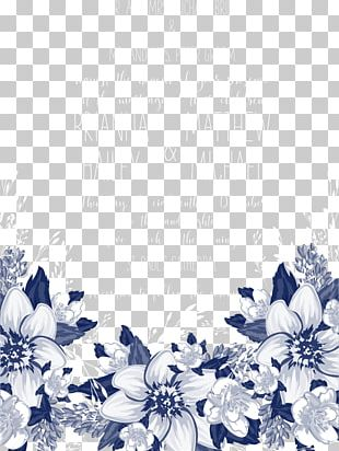 Blue Petal Black And White Pattern PNG
