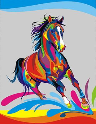 American Paint Horse Painting Abstract Art Oil Paint PNG
