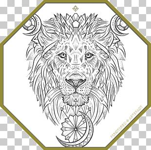 Tiger Line Art Custom Ink Drawing PNG