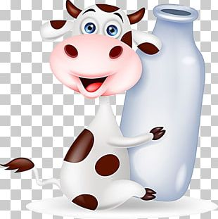 Cattle Milk Bottle Cartoon PNG
