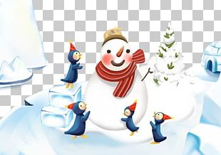 Christmas Snowman Illustration PNG