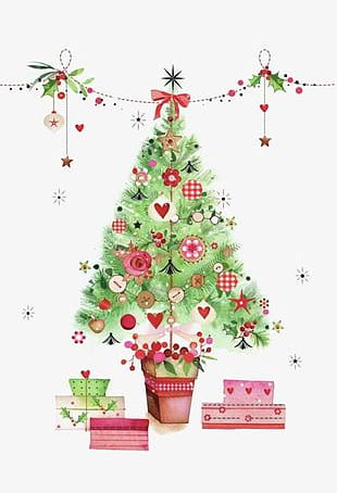 Watercolor Christmas Tree PNG