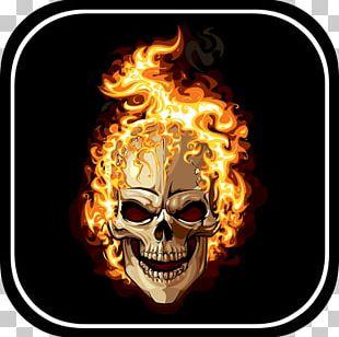 Human Skull Symbolism Light Flame Combustion PNG