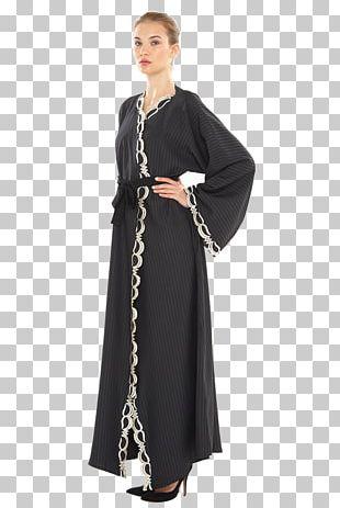 Dress Gown Neck Black M PNG