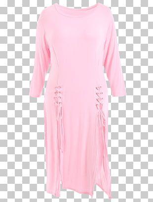 Shoulder Sleeve Nightwear Pink M Dress PNG