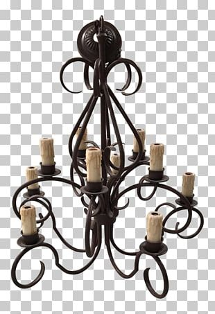 Chandelier Wrought Iron Crystal Ceiling PNG