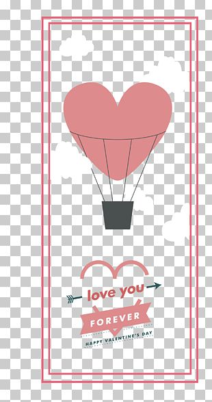 Hot Air Balloon Valentine Card Template PNG