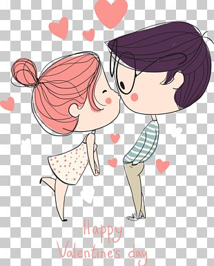 Cartoon Drawing Couple PNG